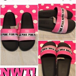 SALE-NWT! PINK SINGLE STRAP SIGNATURE SLIDES